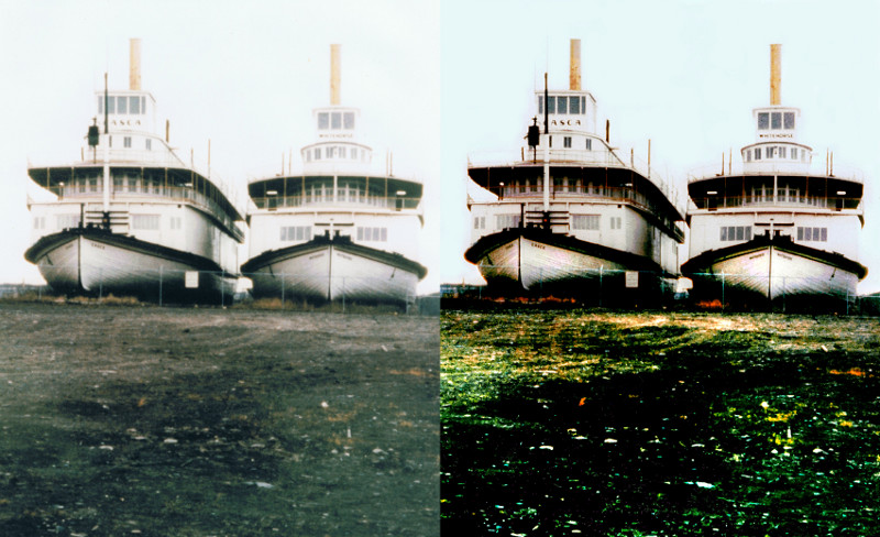 A comparison af the original and the retored photograph.