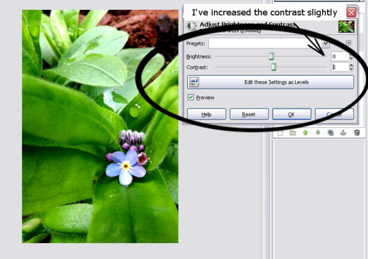 Showing contrast control