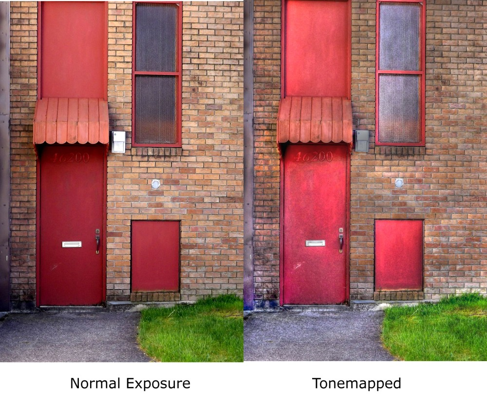A comparison of normal exposure and a tone mapped image of the same door