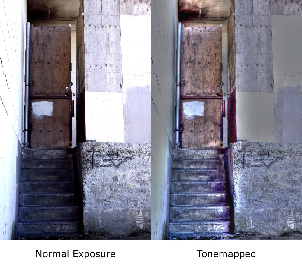 comparison of normal exposure and a tone mapped image of the same door