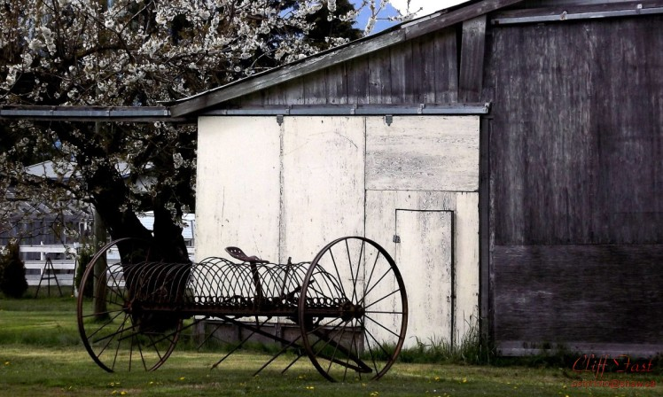 A piece of old farm equipment