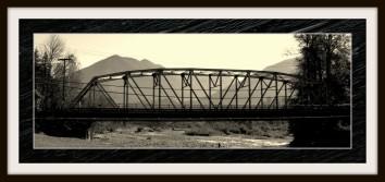 A sepia tone shot of the Vedder Bridge.