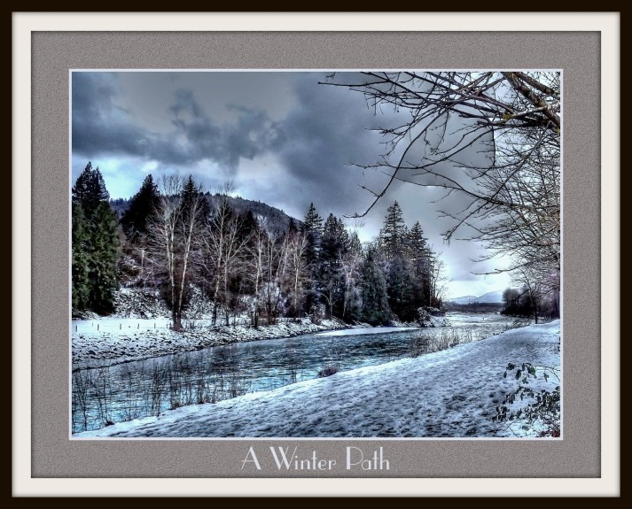 A snow covered pathway beside the Vedder River.