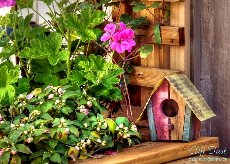 A decorative birdhouse