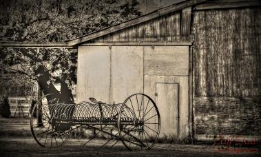 Old hating equipment in a farm yard.