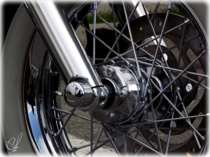 Detail of the front wheel.